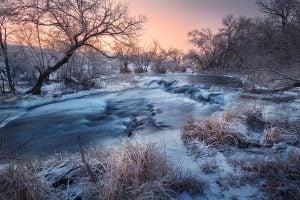 River in Winter Landscape